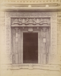 Close view of doorway of a 'small but very old temple, elaborately ornamented', Degaon